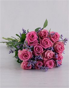 flowers: Pink Roses Wrapped in Grey!