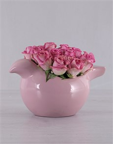 flowers: Piggy Pink Roses!