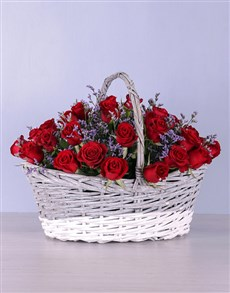 flowers: Basket of Red Roses!