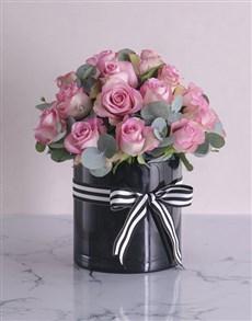flowers: Pink Roses in Cylinder Vase!