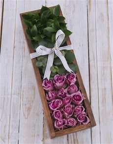 flowers: Purple Roses in Wooden Crate!