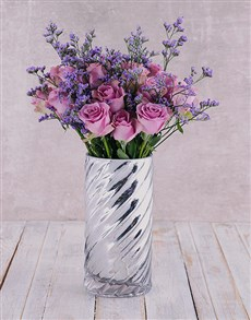 flowers: Graceful Purple Roses in Cylinder Twirl!
