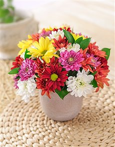 best-sellers: Mixed Daisies in a Pottery Vase Petite!