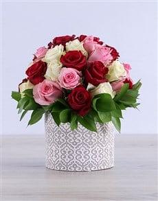 flowers: Mixed Roses in Grey Ceramic!