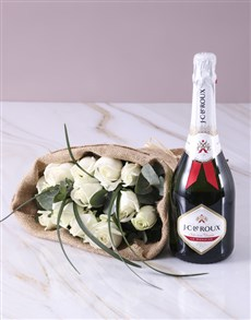 gifts: Bubbly and White Roses!