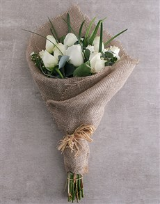 gifts: Dazzling White Rose Bouquet!