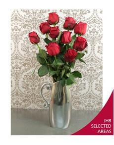 flowers: Silver Jug of Ethiopian Roses!