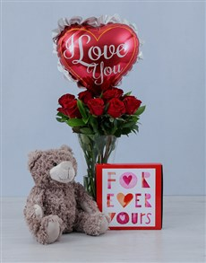 flowers: Teddy Balloon and Red Roses Gift!