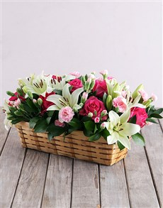 flowers: Mixed Flowers in Rectangle Basket!