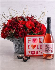flowers: Ruby Red Rose, Chocs and Wine Hamper!