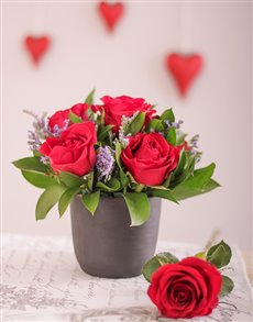 Flowers: Red Roses in a Chalk Vase!
