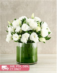 flowers: Snow White Lisianthus in a Cylinder vase!