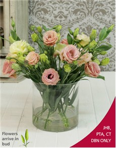 flowers: Pink Mix  Lisianthus in Cylinder Shape Vase!