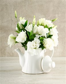 gifts: White Elegance Tea Pot Arrangement!