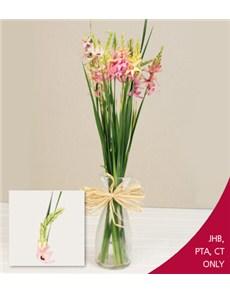 flowers: Ixias in a Milk Bottle!