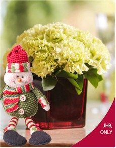 flowers: Vase of Green Carnations with Snow Man!