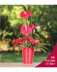 flowers: Red Roses and Anthuriums in a Red Vase!
