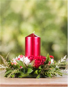 Flowers: Mini Christmas Wreath with Candle!