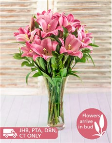 flowers: Pink St Joseph Lilies in a Vase!