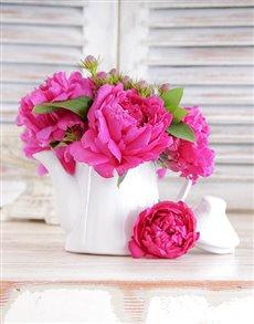 flowers: Teapot of Peonies!