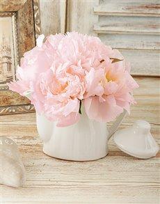 flowers: Light Pink Peonies in Tea Pot!