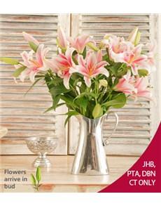 flowers: Stargazer Lilies in an Aluminium Jug!