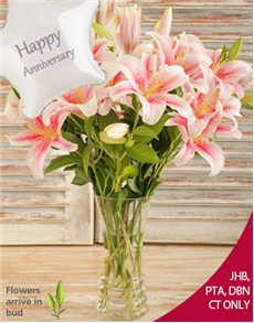flowers: Stargazer Lilies in a Vase with Balloon!