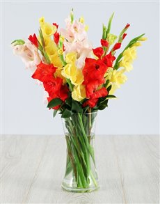 flowers: Mixed Gladiolus in a Glass Vase!