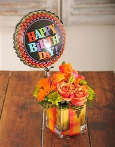 flowers: Roses and Gerberas in a Square Vase Gift!