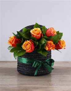 flowers: Cherry Brandy Roses in a Black Hat Box!