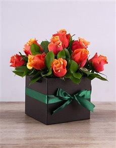 flowers: Cherry Brandy Roses in a Black Box!