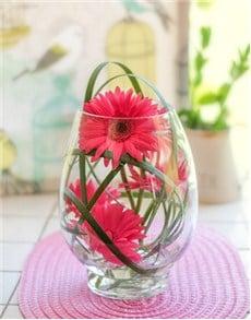 flowers: Egg Shaped Vase of Cerise Gerberas!