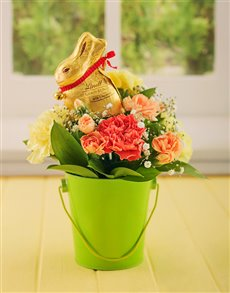 flowers: Bright Easter Carnations in a Bucket!