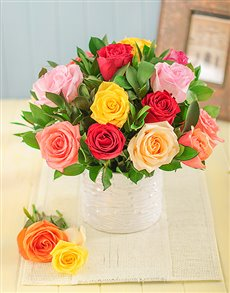 flowers: Glam Mixed Roses in a Glazed Vase!
