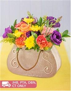 flowers: Mixed Flowers in Ceramic Handbag!