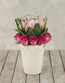 flowers: King Protea, Cerise Roses in Pottery!