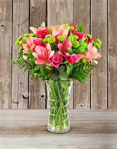 best-sellers: Pink Lilies and Cerise Roses Arrangement!