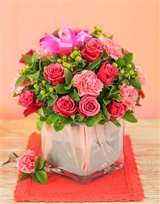 flowers: Carnation and Rose Vase !