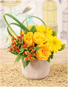 flowers: Yellow Roses and Gerbera Arrangement!