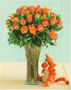 Flowers: Orange Roses with Tigger!