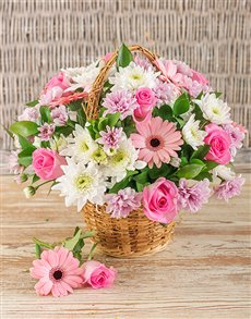 best-sellers: Basket of Mixed Pink Flowers!