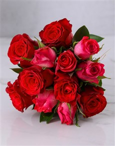 flowers: Red & Cerise Rose Bouquet!