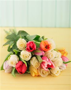 flowers: Bright Bouquet of Tulips and White Roses!