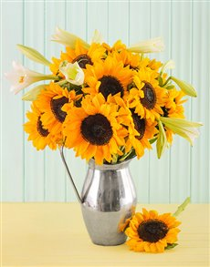 flowers: Bright Sunflowers with Lilies in a Silver Jug!