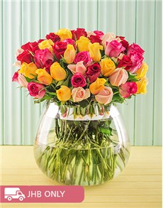 flowers: Bright Mixed Arrangement in a Large Vase!