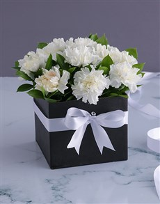 flowers: A Box of White Carnations!