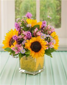 flowers: Yellow and Purple Flowers in Square Vase!