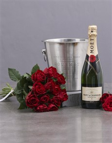 flowers: Red Roses, Moet and Ice Bucket!