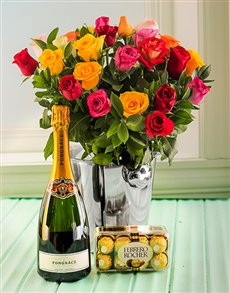 flowers: Gourmet Mixed Roses and Pongracz Hamper!