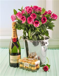 flowers: Pink Roses, Moet, Ice Bucket and Chocs!